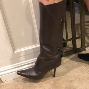 Brown leather stiletto Jimmy Choo boots
